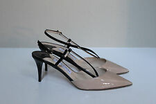 New sz 8 / 38 Jimmy Choo Mandy Beige & Black Patent Leather Pointy Toe Pump Shoe