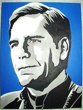 Peinture sur toile Star Trek Scott Bakula le capitaine Archer N&B art 16x12 pouces acrylique