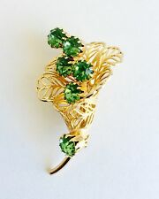 Vintage Lily Gold-tone Brooch with Green Rhinestone, Lilies Symbolizing Humility