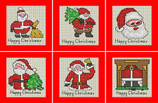 Set of 6 Christmas Cards of Santas - Cross stitch kit