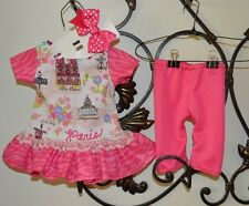 Doll clothes outfit Dress, Pants, Hairbow Handmade for 18 in. doll NEW hot pink