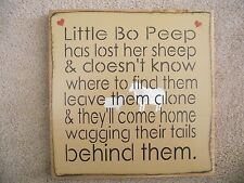 LITTLE BO PEEP HAS LOST HER SHEEP    primitive wood sign with 2 sheep