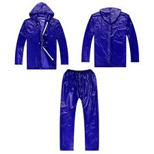 Shiny wet look glanz pvc  nylon track suit sport mens    jacket pants one size