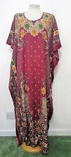 New Floral Red Kaftan Tunic Holiday Beach Long Dress Cover Up One Size 12-24