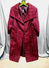 NWT Axcess burgundy designed lined button long coat women's size 10
