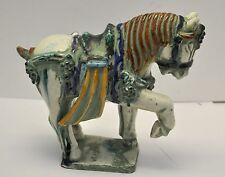 "Rare Antique state find 9.5"" Chinese multi-colored Glaze Ceramic Tang War Horse"