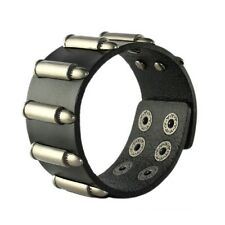 Black Cool Wide Punk Men Women Genuine Leather Bangle Cuff Bracelet with Bullets