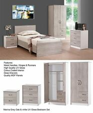 Marina High Gloss Bedroom Furniture Set Grey - 3 Piece Wardrobe Chest Bedside