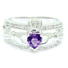 Natural Claddagh Amethyst & 20 Diamond 9K 9ct Solid White Gold Celtic Ring