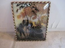 Vintage Silhouette Metal Frame Convex Glass Picture!!!