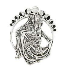 Moon Goddess Lunar Phases Sterling Silver Pagan Wiccan Witch SS Jewelry Pendant