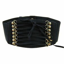 LADIES RETRO TRENCH STYLE WIDE ELASTICATED WAIST BELT - VARIOUS COLOURS (792)