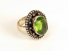 Big cocktail ring nickel alloy German silver peridot costume size 8.75 green