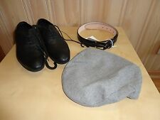 H&M Classic Style MEN- Leather Shoes/ Flat CAP Baker Peaked /Leather Belt/Combo