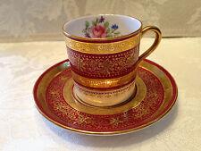 Vintage Aynsley Red Floral Gold Demitasse Cup & Saucer FINE BONE CHINA England
