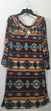 Southwest Dress Aztec Western Small S Mini Brown Blue Turquoise Cowgirl Women's