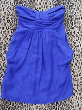 Alice & Trixie Sz Small Perisian Blue Strapless Polka Dot Silk Dress Short GREAT