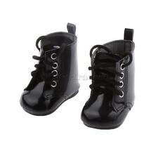 """Dolls Shoes Black PU Martin Boots for 18"""" American Girl Doll Clothes Accs"""