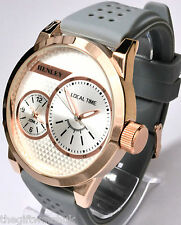Henley Mens or Ladies BIG Rose Gold Tone Dual Time Watch Grey Silicone Strap