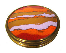 Stegemaille Puder Dose Emaille 30s 50s Cloisonné Gold Plated Enamel Compact Box