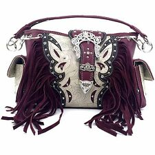 Trendy Western Purse Rhinestone Crown Buckle Fringe Conceal Carry Should Red