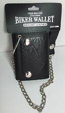 BRAND NEW BIKER TRI FOLD WALLET COWHIDE LEATHER EAGLE EMBOSSED