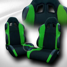 2 UNIVERSAL TS BLK/GREEN CLOTH LEATHER RECLINABLE RACING BUCKET SEATS+SLIDER C03