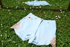 BIAGGINI Designer Vtg Blue Hot Pants Shorts Lace Custom Cut Off Rework sz 12 Q25