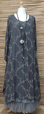 LAGENLOOK*BELLA BLUE*AMAZING BEAUTIFUL 2 POCKETS LONG DRESS*GREY/BEIGE* L-XL