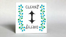 Magnet for Dishwasher front - Clean, Dirty Status Quote, blue flowers