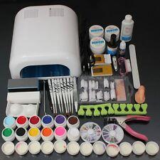 12 Colori UV Gel Ricostruzione Unghie Completo 36W Lampada Nail Art Manicure Kit