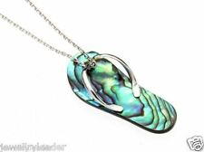 "Sterling Silver Abalone Flip Flop Pendant with 17"" Silver Chain"