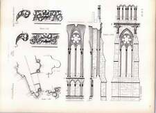 Gothic Rheims Cathedral Interior Exterior Sections Profiles String Course
