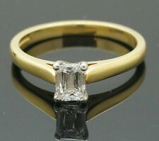 18Carat Yellow Gold Emerald Cut Diamond(0.50ct) Solitaire Ring (Size N 1/2)
