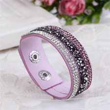ELEGANT LEATHER Slake BRACELET MADE WITH SWAROVSKI CRYSTALS - LIGHT PURPLE