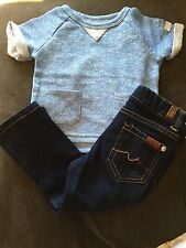 NWT 7 For All Mankind 2 Piece Outfit Baby Blue Top & Jeans Toddler 2T