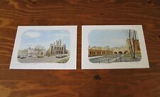 """Cathedral in England (2) 1984 Douglas Ridgwell Prints Numbered Signed 7 1/2x 10"""""""