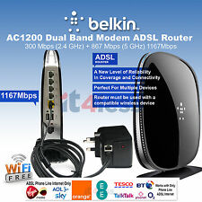 Belkin Wireless AC1200 Dual Band ADSL ADSL2 ADSL 2+Modem Gigabit Router 1167Mbps