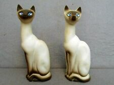 "TWO 10"" SIAMESE CAT STATUES - CALIF USA - pair pottery sculpture figures"