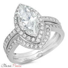 2.36ct Marquise Cut Sim Halo Engagement Bridal Ring band set 14k White Gold