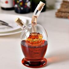 2-Outlet Glass Oil Jar Vinegar Storage Bottle Sauce Cruet Dispenser w/Cork#2