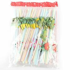 50Pcs Hawaiian Theme 3D Fruit Summer Party Colorful Cocktail Drink Straw