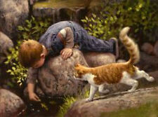 Lunch Time by Jim Daly Kid Children Animal Cat Print Poster 11x14