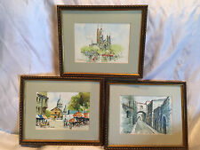 "Three Collectible W. Rossi 5x7 Framed Watercolor Paintings (Frames 10-3/4""x9"")"
