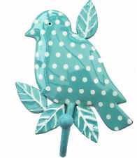 French style shabby chick DOTTY BIRD BRANCH HOOK - BLUE, Polka Dot,