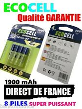 8 Piles AAA 1900mAh ECO Rechargeable 1.2 Mignon Ni-Mh  TRES PUISSANT - DE FRANCE