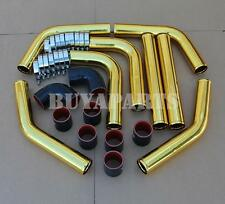 """Universal 2.5"""" 8pc Gold Front Mount Intercooler Piping Kit + Black/Red Couplers"""