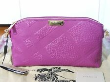 NWT Burberry $995 Chichester Check-Embossed Leather Clutch Shoulder Bag Magenta