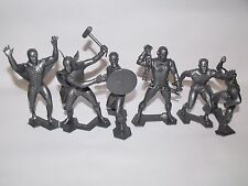 "MARX MARVEL CLASSIC RECAST SILVER 6"" FIGURES COMPLETE SET SPIDERMAN IRON MAN ETC"