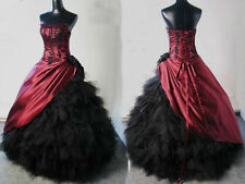 Victorian Gothic Burgundy Black Corset Ball Gown formal Gowns party prom Dress